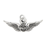 Sterling Silver Oxidized Airline Airplane Pilot Wings Charm -with Options