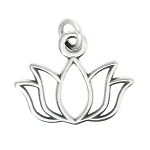 Sterling Silver Oxidized Lotus Flower Charm -with Options