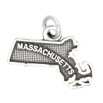 LGU® Sterling Silver Oxidized Massachusetts Charm -with Options
