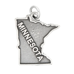 LGU® Sterling Silver Oxidized Minnesota Charm -with Options