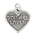 LGU® Sterling Silver Oxidized You are Loved Heart Charm -with Options