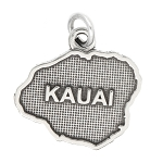 LGU® Sterling Silver Oxidized Kauai Island, Hawaii Charm -with Options