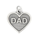 LGU® Sterling Silver Oxidized Dad Heart Charm -with Options