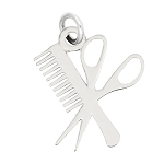 LGU® Sterling Silver Oxidized Comb and Scissors Hairstylist Charm -with Options