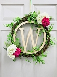 Monogrammed Personalized Wood Letter Cutout Wreath Door Decoration (Center Monogram Only)