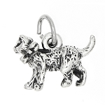 Sterling Silver Cat with Bow Charm -with Options