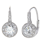 Sterling Silver Cubic Zirconia 2 Cttw Round Bezel Set Dangle Leverback Earrings