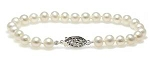 Rosy White Cultured Freshwater Pearl Knotted Bracelet with Fancy Sterling Silver Clasp