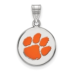 Sterling Silver Enamel Clemson University Pendant Disc Only