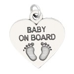 LGU® Sterling Silver Oxidized Baby on Board Heart Footprint Charm (With Options)