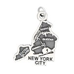 LGU® Sterling Silver Oxidized New York City Map NYC Charm (With Options)