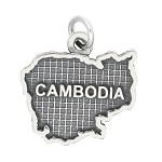 LGU® Sterling Silver Oxidized Cambodia Map Charm (With Options)