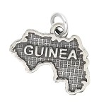 LGU® Sterling Silver Oxidized Guinea Map Charm (With Options)