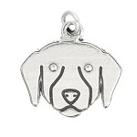 LGU® Sterling Silver Labrador Retriever Golden Retriever Dog Face Puppy Charm (With Options)