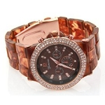 Women's Fancy Glitz Tortoise Style Plastic Band Watch