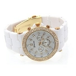 Women's Fancy Glitz Style Gold Tone Bezel White Band Watch