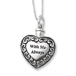 Sterling Silver Cremation Jewelry Memorial Urn Ash Holder Heart Pendant Necklace