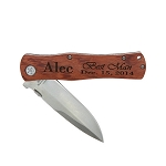 Monogrammed Personalized 4.5 Inch Wood Foldable Pocket Knife with Clip