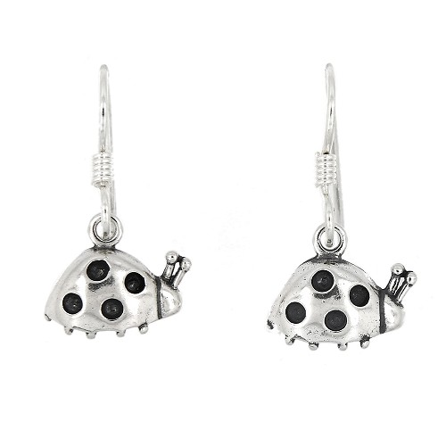 Sterling Silver Tiny Lady Bug Earrings