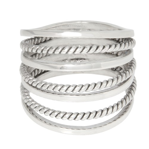 Sterling Silver 7 Day Lucky Ring Twisted Rope Band Stacked Fancy Ring