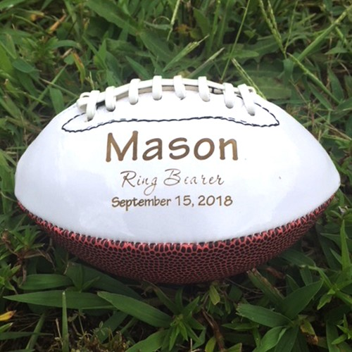 Monogrammed Personalized Football Mini Football Youth Football Ring Bearer Gift Groomsmen gift Best Man Gift