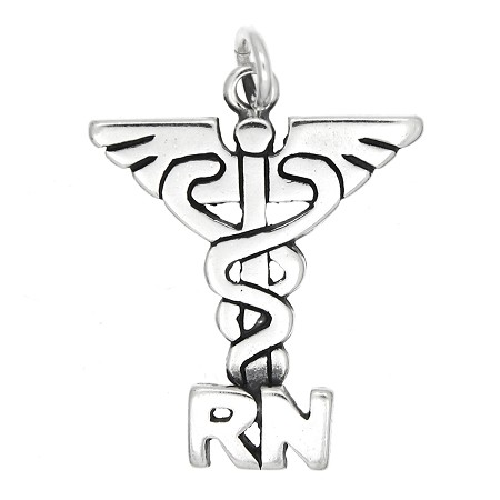 Sterling Silver New Registered Nurse Caduceus Emblem Charm Pendant