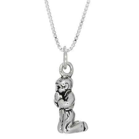 Sterling Silver Three Dimensional Praying Boy Necklace