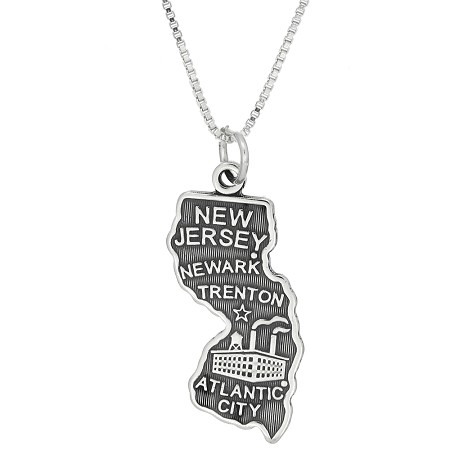 Sterling silver state of new jersey charm with box chain necklace aloadofball Images