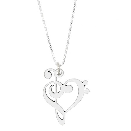 Sterling silver love music treble bass clef pendant necklace aloadofball