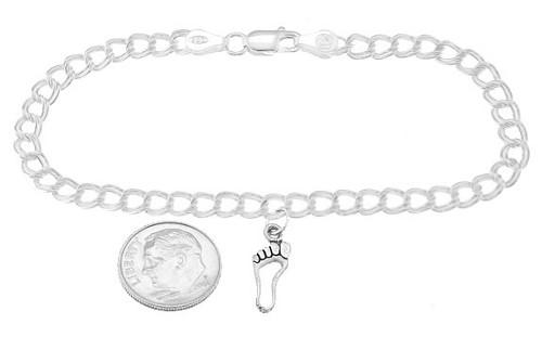 Sterling Silver Open Footprint Frame on 5 Millimeter Charm Bracelet