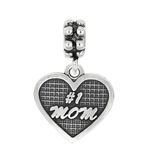 Sterling Silver Oxidized Textured #1 Mom Heart Dangle Bead Charm