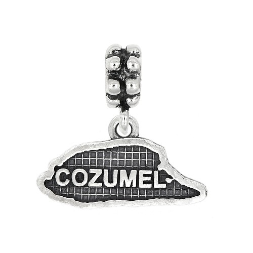 Sterling Silver Oxidized Textured Travel Cozumel Island Dangle Bead Charm