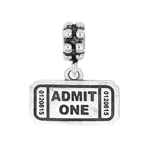 Sterling Silver Oxidized Admit One Ticket Dangle Bead Charm