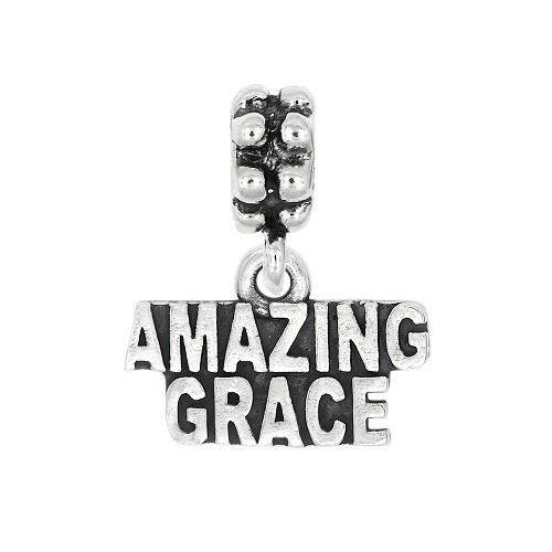 Sterling Silver Oxidized Amazing Grace Dangle Bead Charm