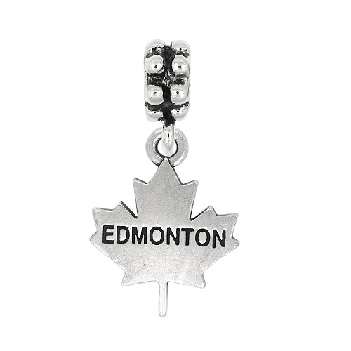 Sterling Silver Oxidized Textured Travel Edmonton Alberta Canada Dangle Bead Charm