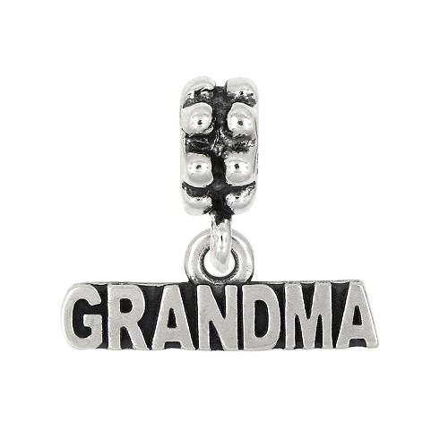 Sterling Silver Oxidized Grandma Grandmother Dangle Bead Charm