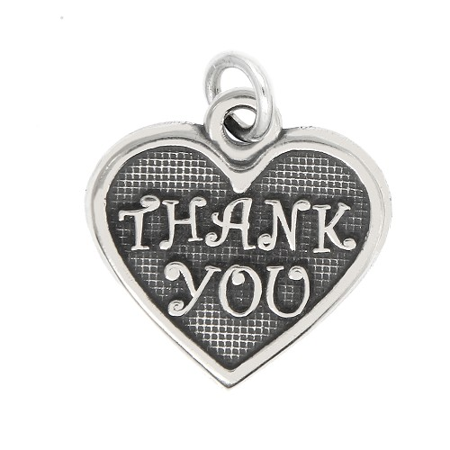 LGU® Sterling Silver Oxidized Thank you Heart Charm -with Options