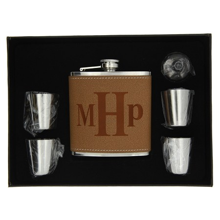 Custom Monogrammed Personalize Leather Flask Set, Stainless Steel Flask Set
