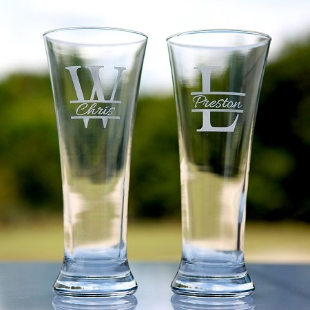 wedding party beer glass groomsman gift etched engraved personalized