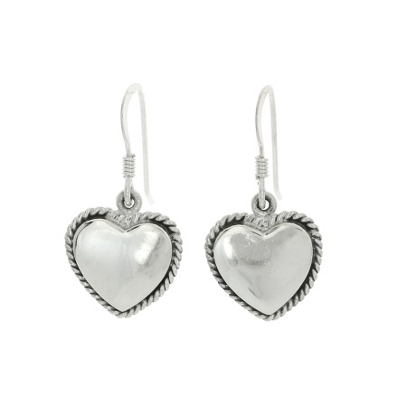 Sterling Silver Monogrammable Engravable Small Rope Edge Trim Heart Earrings