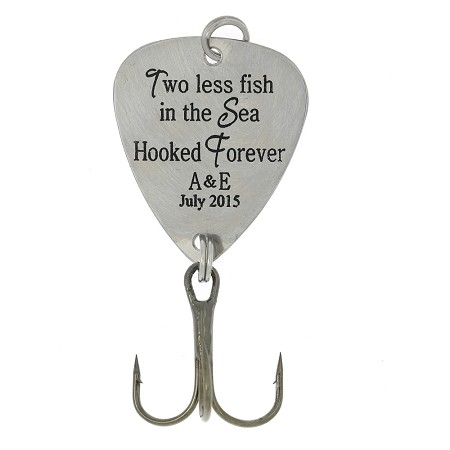 "LGU® Monogrammed Personalized Hook Fishing Lure ""Two Less Fish in the Sea Hooked Forever"" with Initials and Personal Date"