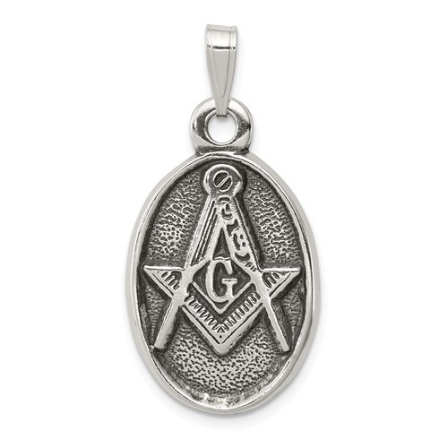 Sterling Silver Oxidized Masonic Pendant Charm