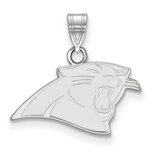 Sterling Silver Rhodium Plated Carolina Panthers Pendant