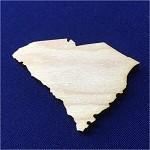 "DIY Flat Laser Cut 8""-16"" Unfinished Wood Wooden Craft shape Cutout Wooden Art Craft Supplies State Map South Carolina Wood Cut Out (Pack of 5)"