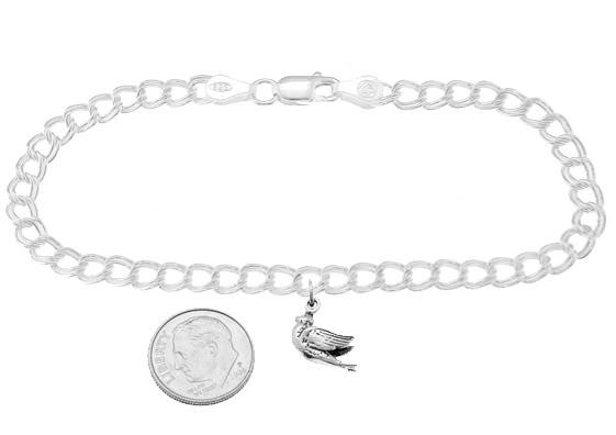 Turtle Dove On 5 Millimeter Charm Bracelet