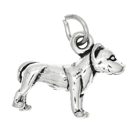 Sterling Silver Large Pit Bull Dog
